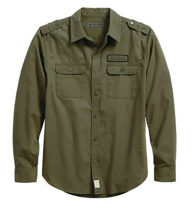 96166-18Vm Harley-Davidson Men's Hdmc Canvas Army Green  Shirt  ** New**