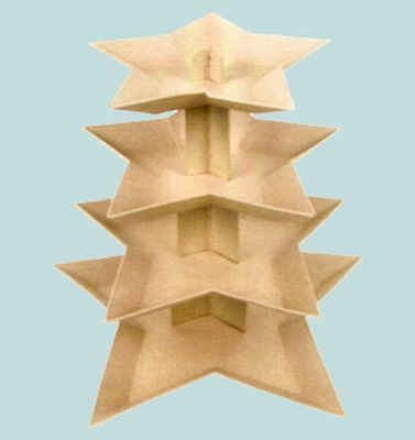 Cupcake Stand Star Shape - 4 Tier Cardboard Tray - Plain Craft Decorate Paint