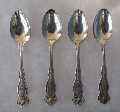 4 Ornate Virginia - Wm Rogers & Son - AA - 1915 Souvenir Teaspoons
