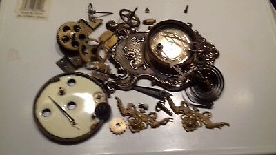 Collection of job lot various clock parts hands main springs etc