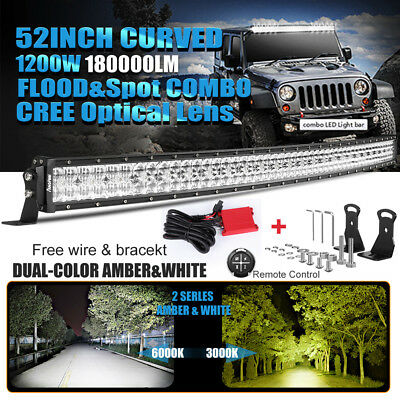 52Inch 1200W Curved Led Light Bar Flood Spot Combo Offroad 4Wd Truck Atv Ute 50