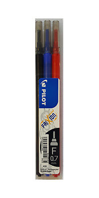 Pilot 0.7mm Heat & Friction Erasable Pen Refills, Black, Blue & Red