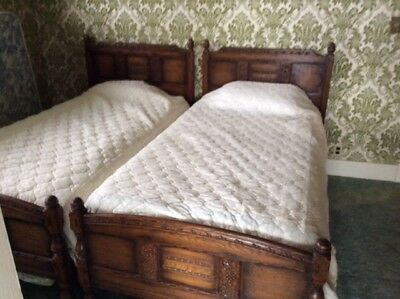 2 Antique Feudal Oak single beds(rare)
