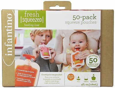Infantion Squeeze Pouches Baby Food Station Feeding Puree Fresh 50 Count 4oz NEW