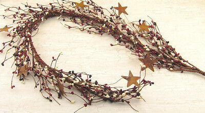 New Primitive Country AMERICANA RED WHITE BLUE BERRY GARLAND RUSTY STARS