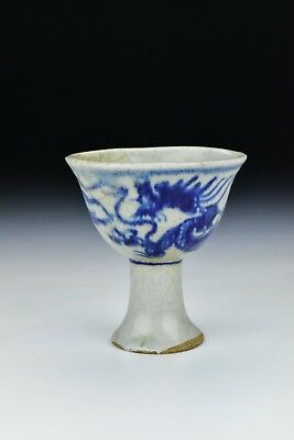 Antique Ming Dynasty Chinese Porcelain Stem Cup Underglaze Blue Dragon