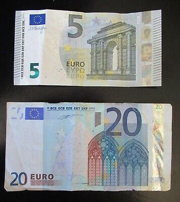 EURO notes REAL 20 and 5 euro banknote money circulated 2002 2013 spending gift
