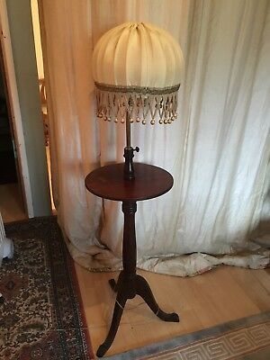 antique mahogany tall standard lamp with a 41 cm wine table and a lampshade