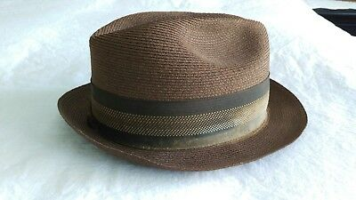 Vintage Mens Chesterfield Brown Straw Fedora Hat w/ Band 7 1/4 Long Oval