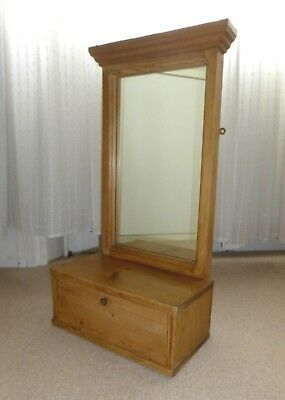Antique Vintage Small Pine Wall Mirror with Storage / Shelf Unit - VGC