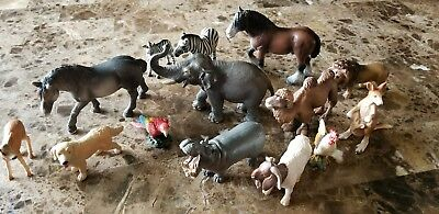 Schleich Lot 14 Animals Used - some very rare and hard to find