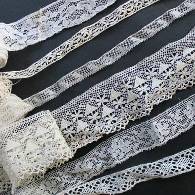 Antique lot of pieces of cotton lace, floral, embroidered lace