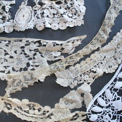 Antique lot of short pieces of handmade cotton lace, floral, embroidered lace