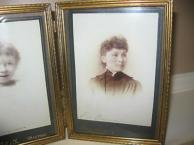 Vintage Gold Tone Metal Hinged Bi-Fold Double Picture Frames