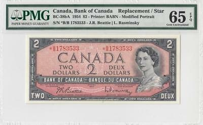 1954 Bank Of Canada Qeii $2 **star Note** (( Pmg 65 Epq ))