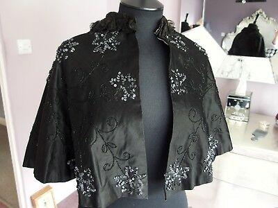 Original Victorian antique capelet shawl sequin and beaded lace collar