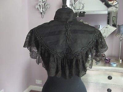 Original Victorian antique capelet shawl with beaded with black lace trim