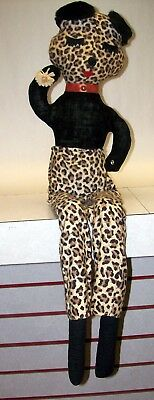 Vintage Sexy Homemade Stuffed Cat w/ leopard pants - expertly done circa 1940's
