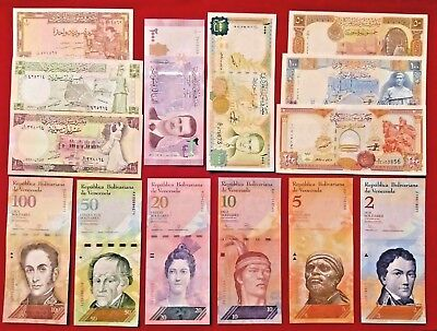 SYRIA / Lot of 15 Notes / 1-5-10-25-50-100-200-500-1000 Syrian Pounds - UNC