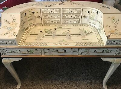 Vintage White Lacquer Chinese Piano Desk Inlay Mother of Pearl & chair