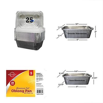 25 Pack Of Disposable Takeout Pans With Clear Lids Lb Capacity Aluminum Foil For