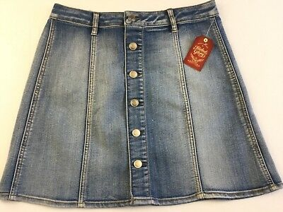 d776f0a016f45 FADED GLORY Women s Jeans Skirt 4 Button Front Denim Blue A-line Back  Pockets