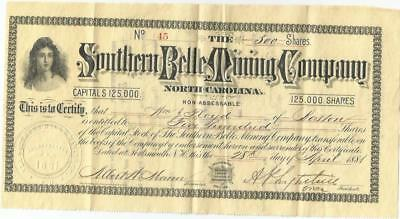 1881 Stock Certificate Southern Belle Mining Co Of North Carolina