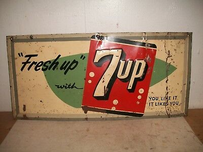 """Original 1957 Vintage Fresh Up with 7up Tin Embossed Advertising Sign 23"""" X 11"""""""
