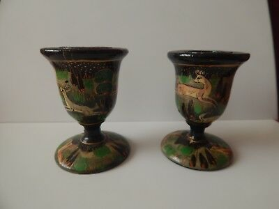 Pair Of Old Painted Wood Candlesticks / Candle Holders Deer