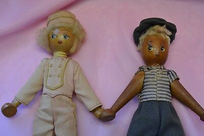 Two Vintage Polish Wood Peg Dolls Made in Poland Hand Made and Painted