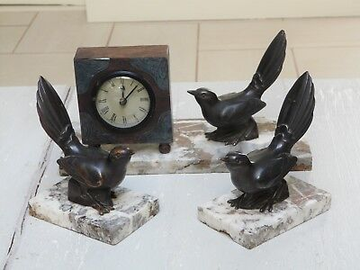 French Art Deco Spelter Bird Clock Centre Piece Garniture Marble Bookends - VGC