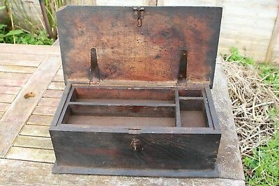 Antique wooden carpenters tool box with pull out shelf dark wood storage trunk