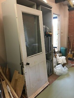 Old Victorian Pitch Pine Exterior Door Glass Panel