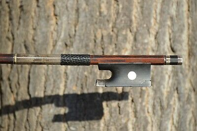 Old French violin bow silver mounted, stamped P. LORANGE À LYON