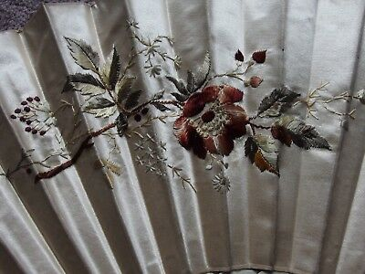 antique Victorian silk embroidered fan