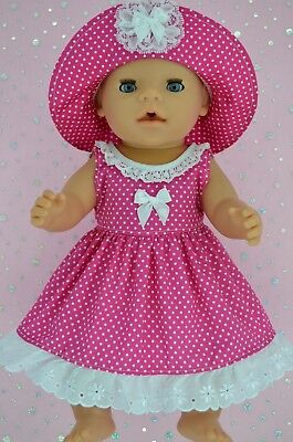 "Play n Wear Doll Clothes To Fit 17"" Baby Born HOT PINK POLKA DOT DRESS~HAT"