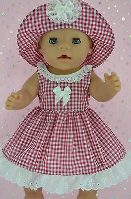 """Play n Wear Doll Clothes To Fit 17"""" Baby Born  RED GINGHAM DRESS~HAT"""