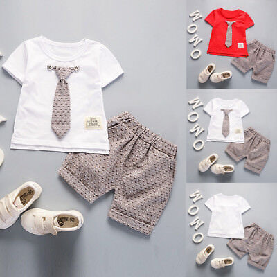 US Child Kids Baby Boy Outfits Short Sleeve T-shirt+Shorts Gentleman Clothes Set