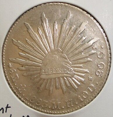 1883 REPUBLIC OF MEXICO SILVER 8 REALES MH Mo MEXICO CITY MINT Nice Detail