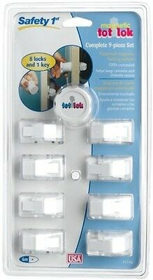 Safety 1st Magnetic Tot Lok Complete 9-Piece Set Set 8 Locks 1 Key