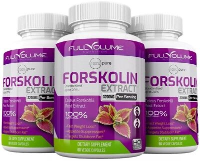 3 x Forskolin Maximum Strength 100% Pure 3000mg Rapid Results Forskolin Extract