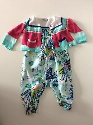 CATIMINI Baby Girls Outfit, Set, Size Age 6 Months, Cardigan & Romper, Vgc