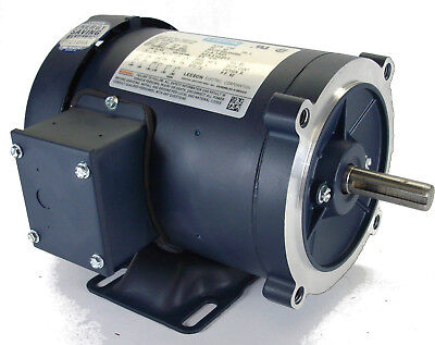 Leeson 119417.00 AC motor 2hp 3ph TEFC 3600 RPM 56c frame w/ base 230/460v USA