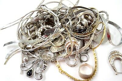 Sterling Silver Lot Scrap For Melting Clean Some Stones  211 g