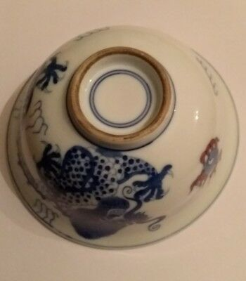 Antique Chinese Porcelain Bowl Blue And White With Dragon, Very Possibly Kang Xi