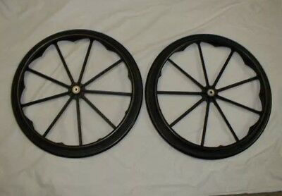 """Invacare Wheelchair Rear Wheels 24"""" X 1"""" Solid Tires With Axels fits most drive"""