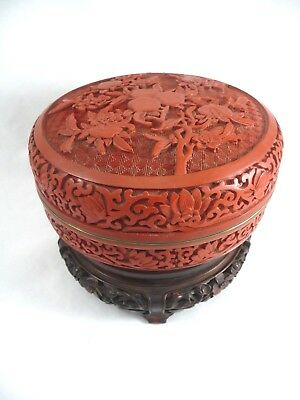 "Chinese Cinnabar Red Lacquer Fruit & Flowers 7"" Lidded Box & Rosewood Stand"
