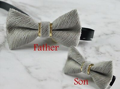 9735a5b49376 Father Son Match Handmade Silver Grey Embossed Velvet Bow Tie Bowtie Wedding