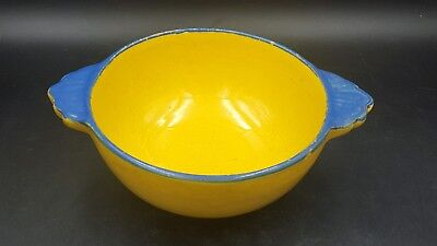 Vintage Henriot Quimper France Yellow and Blue Double Handled Pottery Bowl