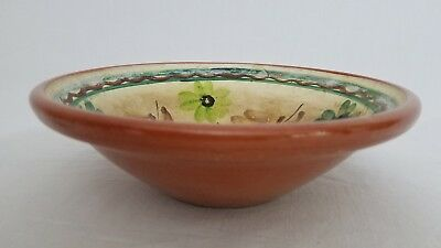 """Vintage Kuppitaan Finland Pottery Bowl Hand Painted Floral 8""""  X 2.5"""" Signed AN"""